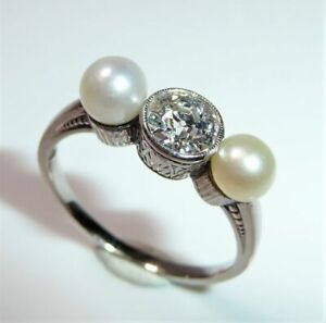 585-Gold-antiker-Ring-0-80-ct-Solitar-Diamant-2-Akoya-Perlen-Gr-57-58