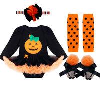 Baby Girls 1St Halloween Pumpkin Romper Costume Outfit Tutu Fancy Dress Clothes