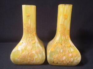 Pair Of Art Deco Splatter Glass Vases With Enamel Flower Design (ref W855)