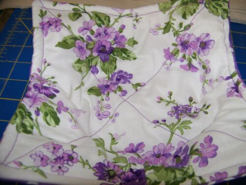 Handmade Microwavable  Bowl Cozy Purple Floral