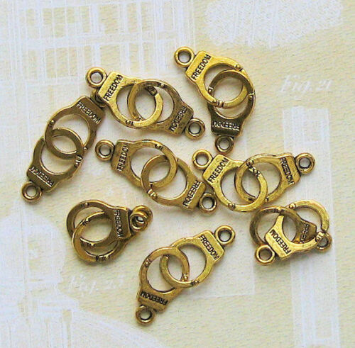 GC037 8 Handcuff Charms Antique Tibetan Gold Tone 3D Detail