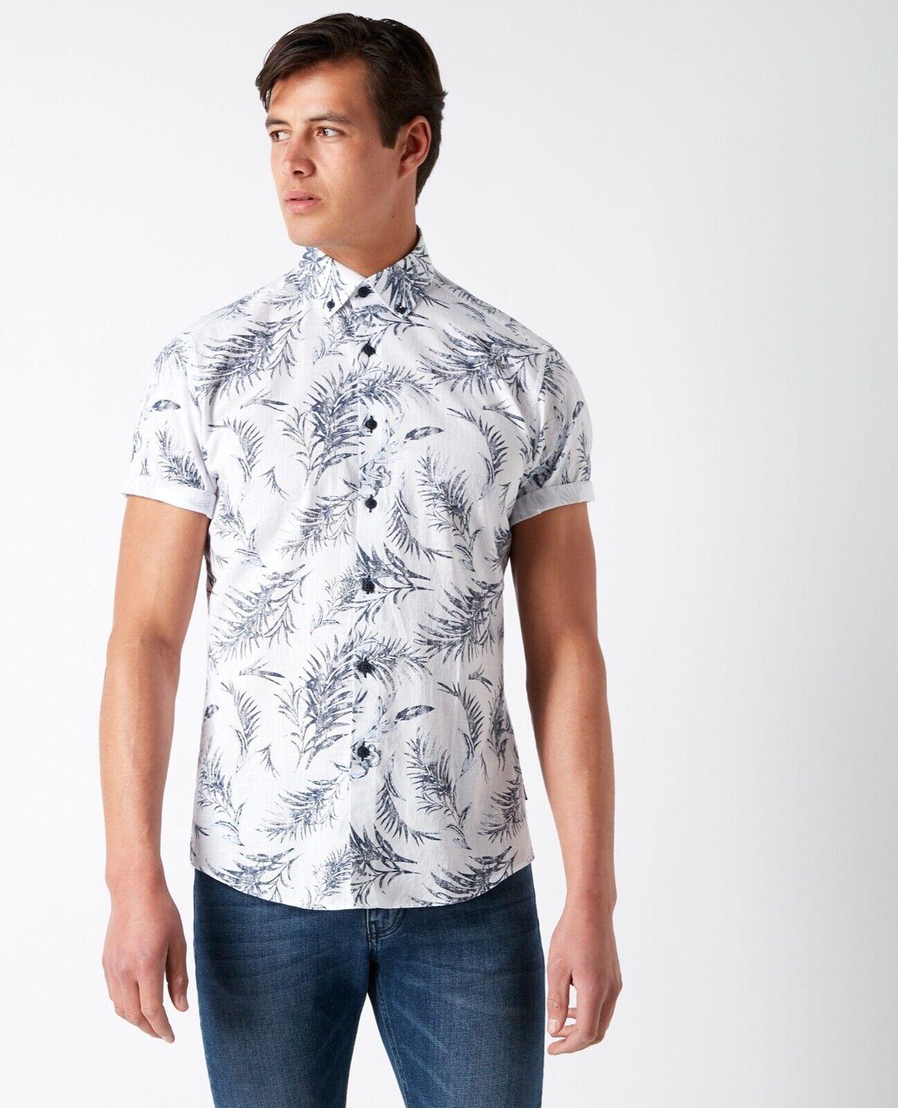 REMUS men® Printed Summer Shirt White - Medium New SS19