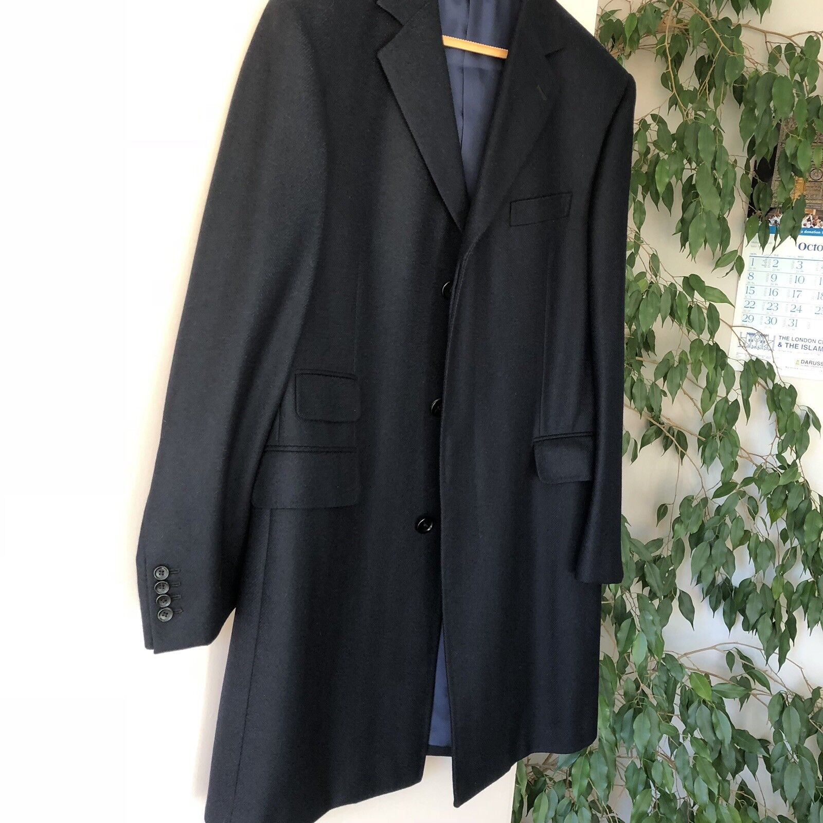 "Overcoat In Pure Wool HAND FINISHED In Navy Größe 42"" BN by M & S"