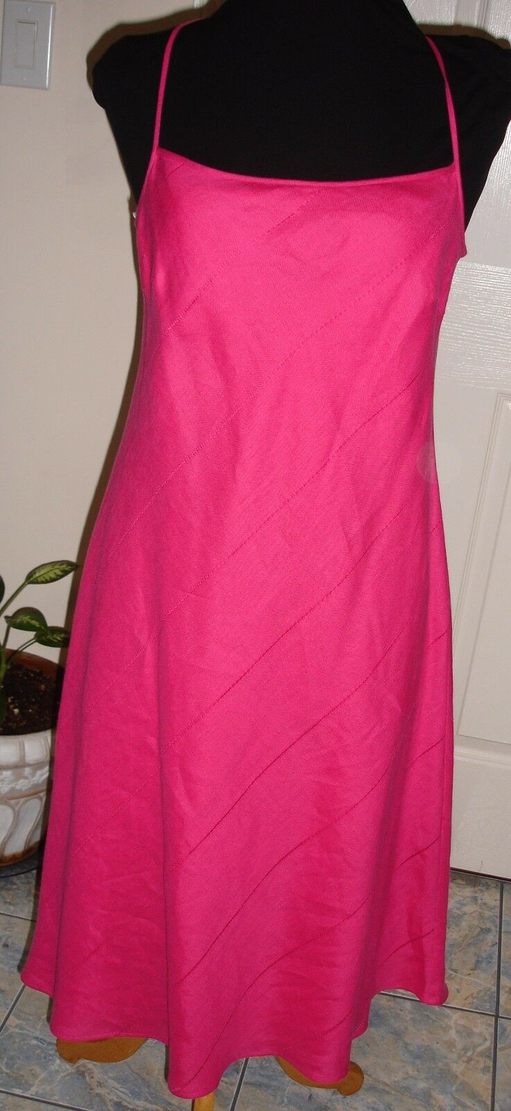 ESCADA FUCHSIA LINEN DRESS Größe 40 GORGEOUS