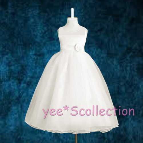 New White Tulle Flower Girl Bridesmaid Wedding Party Formal Dress Age 18M-11y
