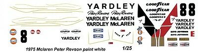 #8 Peter Revson Yardley Mclaren 1975 1/24th-1/25th Scale Waterslide Decal Automotive
