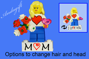LEGO NEW gift custom female minifigure with bunch flowers and heart  mothers day