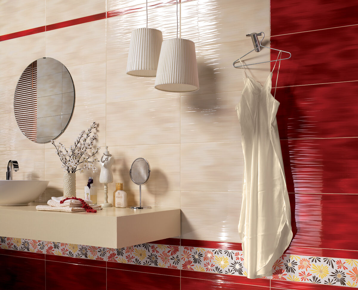 Red 36R Waterfall Effect Ceramic Gloss Wall Tiles Bathroom, Kitchen ...