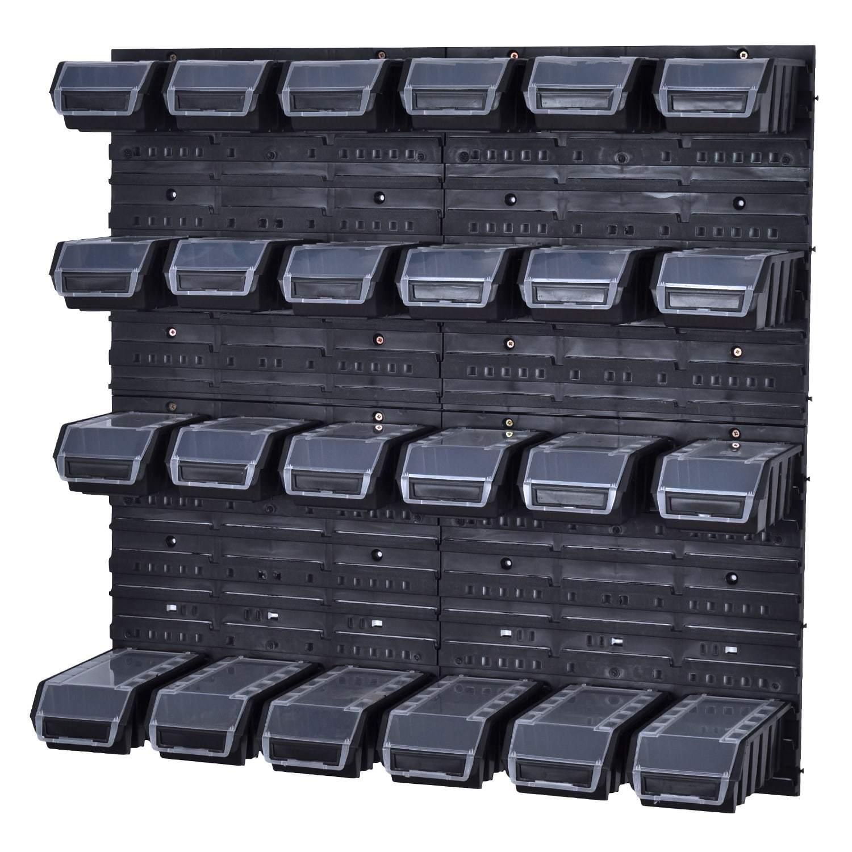 Stapelboxen Werkzeugwand 18 Boxen Montagewand black