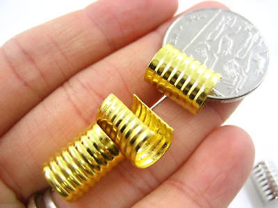 20pc gold 9.5*12.5 Cylindrical ribbed return Cord End tip cap wrap fold over tip