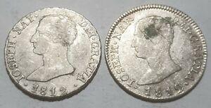 SET of 2 COLONIAL SILVER COINS SPAIN 4 REALES 1812 SLA & MAI JOSEPH NAP RARE RRR