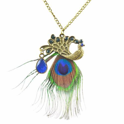 Aleación De Bronce Art Deco Vintage Pavo Real Cadena Colgante Collar de plumas de aves UK