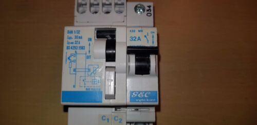 viaje de derivación Disyuntor dan 1//32 32 A 30 mA RCBO GE Serie G GEC Vynckier