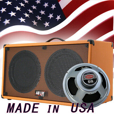 1 2x12 Guitar Speaker Cabinet Orange Tolex W//Celestion Rocket 50 Speakers