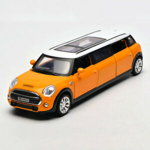 1-36-BMW-Mini-Extended-Limousine-Die-Cast-Modellauto-Spielzeugauto-Sammler-Gelb