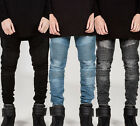 Fashion Mens skinny Casual Pencil Pants slim Straight Biker jeans Trousers