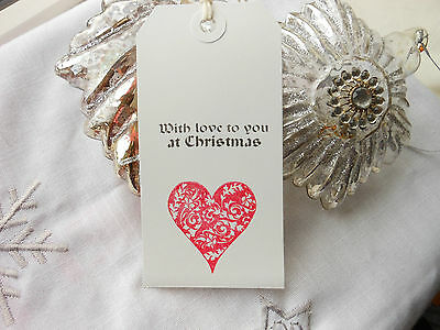 10 White With Love To You at Christmas Gift Tags Handmade Vintage Style