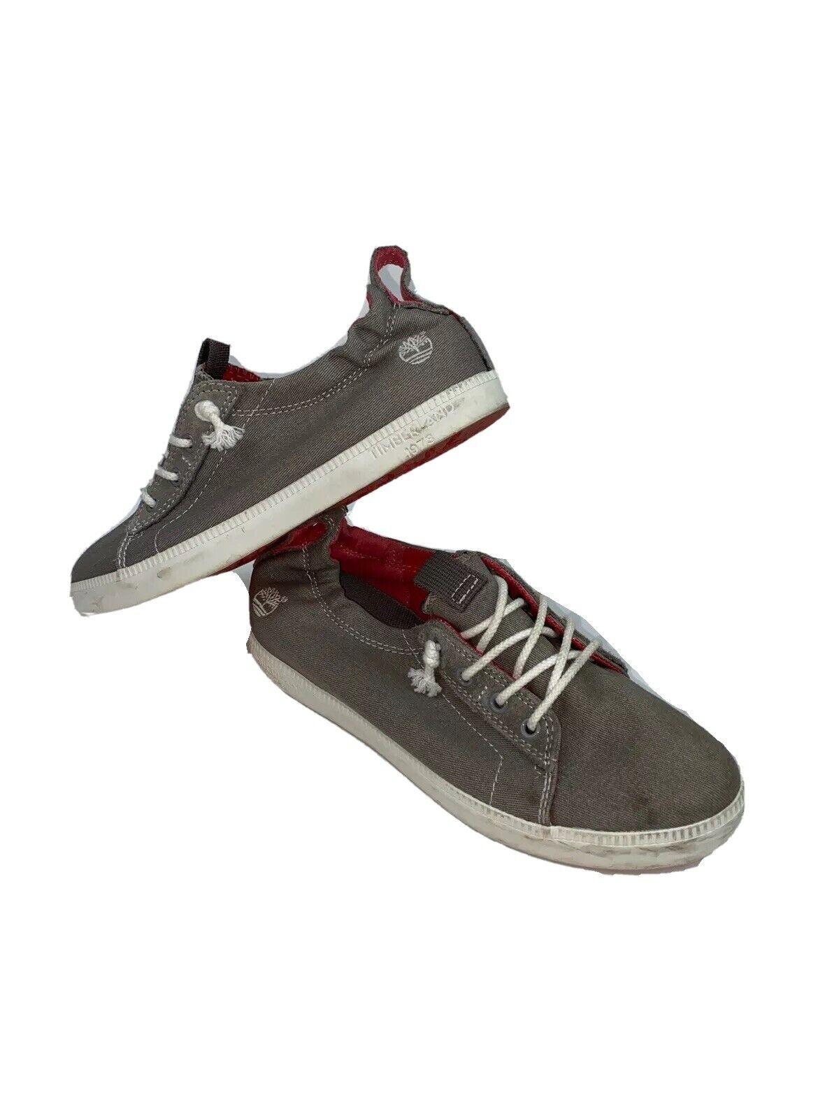 Timberland Women's Canvas Casual Shoe Sneaker Ortholite Gray Travel Walking SZ 7
