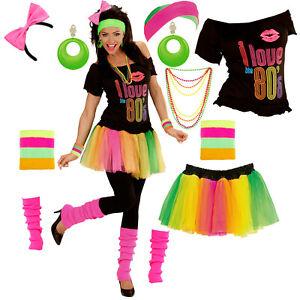 80er Jahre Karneval Kostum Fur Damen Mit Modeschmuck 80s Verkleidung Kleidung Ebay