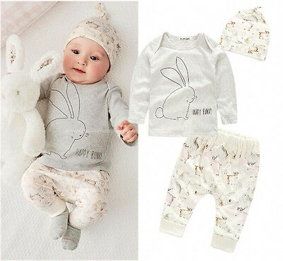 3PCS Cute Bunny Newborn Baby Boy Girl Bodysuit Hat T-shirt Pants Outfits Sets