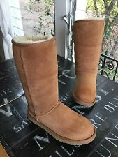 $195 Ugg Australia Classic Tall Winter Boot Chestnut Suede Womens Size 6 !!