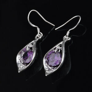 Amethyst-925-Silver-Ear-Hook-Drop-Dangle-Earrings-Women-Wedding-Jewelry-Party