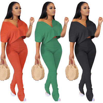 Women Solid Color Long Sleeves Wide Legs OL Style Casual Club Party Jumpsuit 2pc