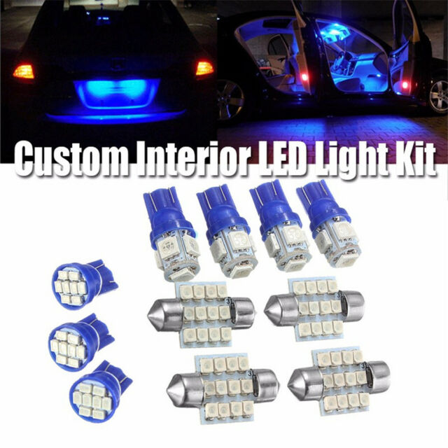 13Pcs Blue Car Interior T10 & 31mm LED Bulbs Map Dome License Plate Light Lamp