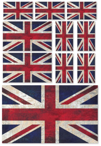 10 X UNION JACK GRUNGE FLAG VINYL CAR VAN IPAD LAPTOP STICKERS