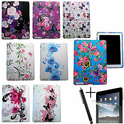 BUTTERFLY FLORAL SILICON RUBBER GEL CASE SLEEVE SKIN COVER FOR APPLE iPAD
