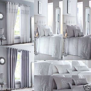 Shimmer-Sequin-Diamante-White-or-Silver-Duvet-Quilt-Cover-Set-Bed-Linen-Bedding