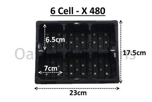 480 x 6 Cellule Literie Plante Packs de qualité commerciale Plateaux à semis Insert barquette en plastique