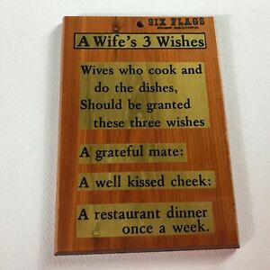 A-Wife-039-s-3-Wishes-Wooden-Wall-Sign-Plaque-VTG-Six-Flags-Georgia-Love-Gift-Art