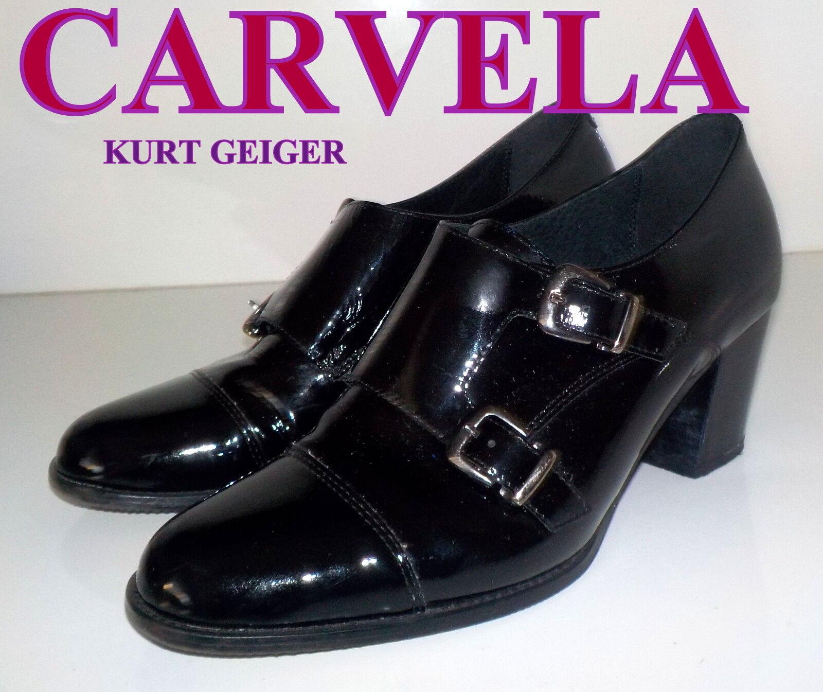 Stunning  CARVELA  Black PATENT  LEATHER  shoes UK 7  EU  40