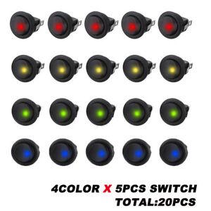20pcs 12V Car Round Rocker Dot Boat Blue LED Light Toggle ON//OFF Switch Newly