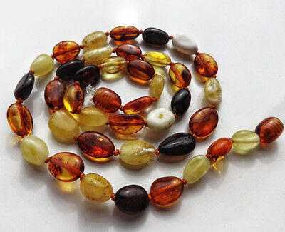Multi Colored Baltic Amber Beads Necklace 48 inch Endless Baltic Amber Necklace Opera Length Amber necklace with silver beads Circa 1960/'s