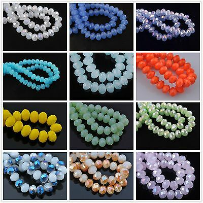 72pcs 8mm Rondelle Faceted Glass Crystal Charms Loose Spacer Beads Findings