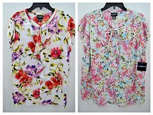 34e64a962f1ce2 Liz Claiborne Career Women s Ruffle Front Floral Blouse Top Size L ...