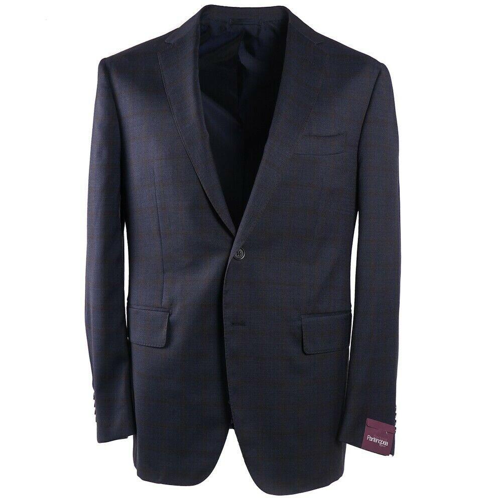 NWT  2995 SARTORIA PARTENOPEA Navy Blau Check wolleSport Coat Slim 42 R