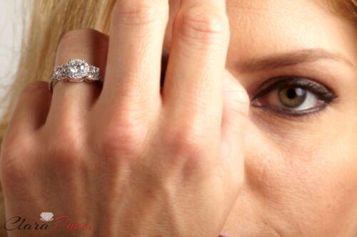 1.80 CT Halo Three Stone Round Cut Ring Engagement Wedding Band 14K White Gold