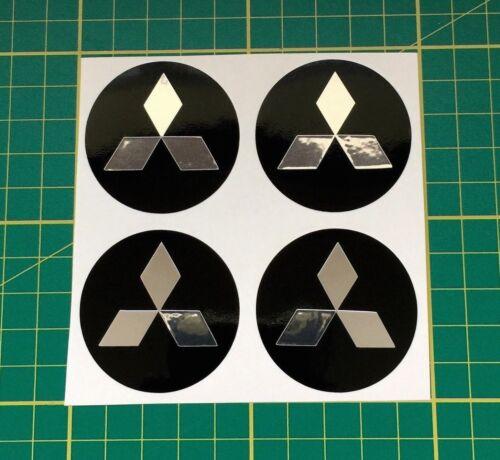 4 x 60mm Adesivi Cerchi in lega effetto cromo adatti MITSUBISHI center cap bAdge Trim