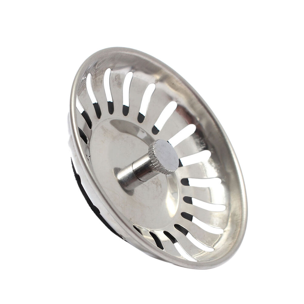 stainless steel home kitchen sink drain stopper basket strainer waste plug ebay - Kitchen Sink Stopper