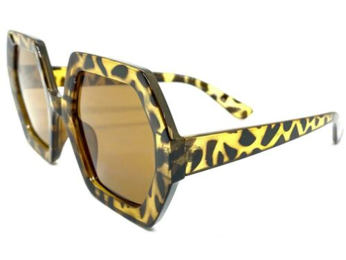 Oversized Retro Luxury Designer Style SUN GLASSES Large Tortoise Hexagon Frame