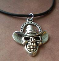 Skull Cowboy Necklace Rebel, Outlaw, Country, Biker, Hardcore, Horseshoe