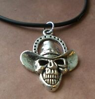 Skull Cowboy Necklace Rebel, Outlaw, Country, Biker, Hardcore, Horseshoe