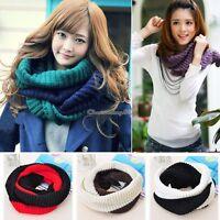 Fashion Women Men Winter Warm Infinity 2 Circle Cable Knit Cowl Neck Scarf Shawl