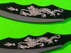 7 INCH 3 PC DRAGONS THROWING KNIFE SET WITH SHEATH - STAINLESS STEEL - DECORATED