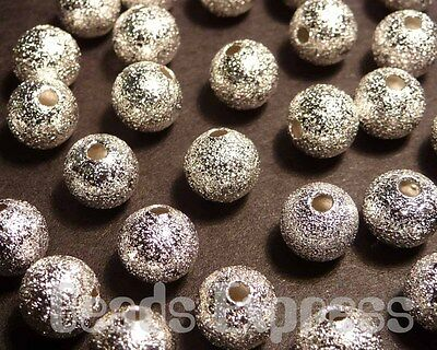30pcs 6mm Silver Plated Round Stardust Sand Surface Beads (M012)