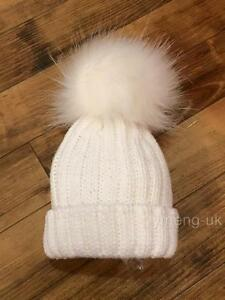 SALE  Infant Baby Kids Unisex Faux Big Raccoon Fur Pompom Hat White ... aac84b5dfef