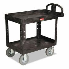 Rubbermaid Commercial 450088bk Heavy Duty 2 Shelf Utility Cart Black New